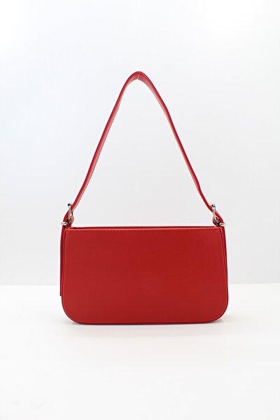 Kadın Fermuarlı Baget Çanta Kırmızı
