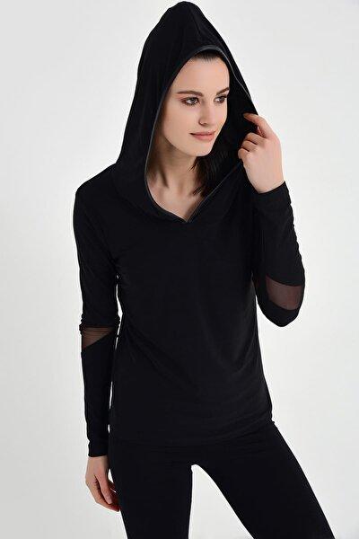 Kadın Siyah Tül Detaylı Kapüşonlu Bluz 19L6566