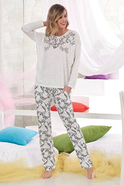 Kadın Gri Baskılı Pijama Takım 10843