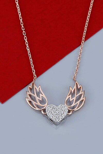 Kanatlı Kalp Gümüş Kolye