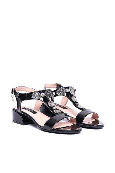 Kz1613-1 Siyah Kadın Deri Sandalet 100387812