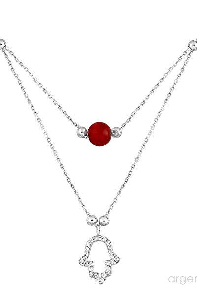 Kadın 925 Ayar Gümüş Mercan Taşlı Çift Zincirli Gümüş Fatma'Nın Eli Kolye N070701