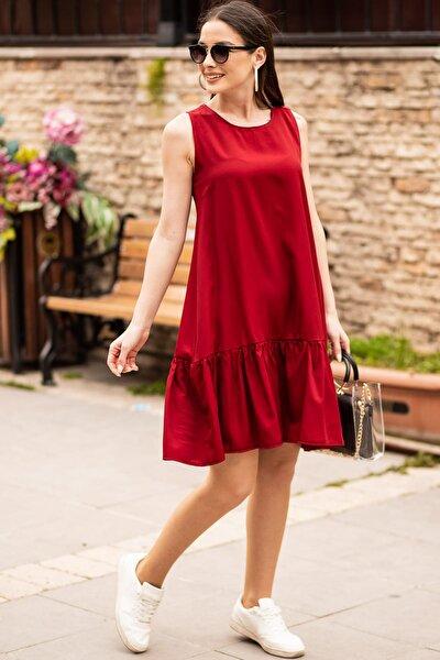 Kadın Bordo Kolsuz Eteği Fırfırlı Elbise ARM-18Y001156