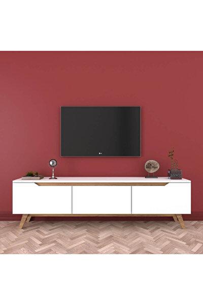 D1 Tv Duvar Ünitesi Ahşap Ayaklı Tv Sehpası Beyaz Ceviz