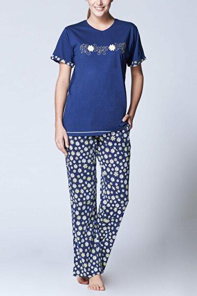 Kadın Lacivert Süprem Kısa Kol Pijama Takımı 7857