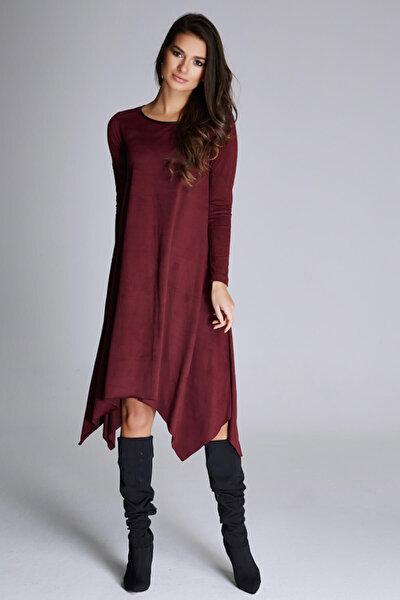 Kadın Mürdüm Nubuk Asimetrik Kesim Elbise 15L4601