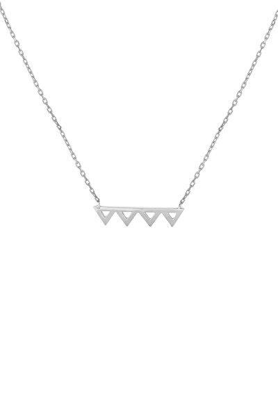 Kadın 925 Ayar Gümüş Minik Üçgenler Kolye TWHYL894