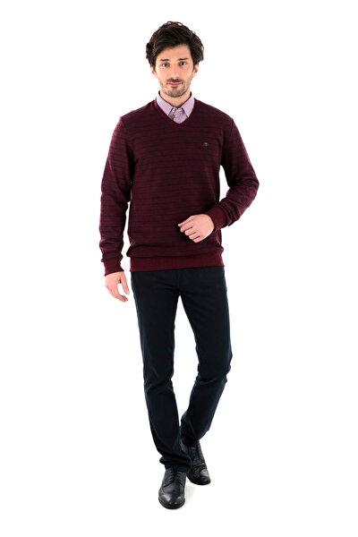 Erkek Bordo-Lacivert Sweatshirt - 4318056