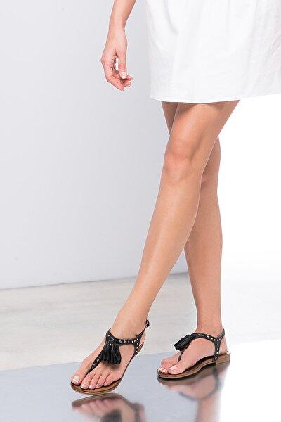 Hakiki Deri Siyah Kadın Sandalet 120120453010