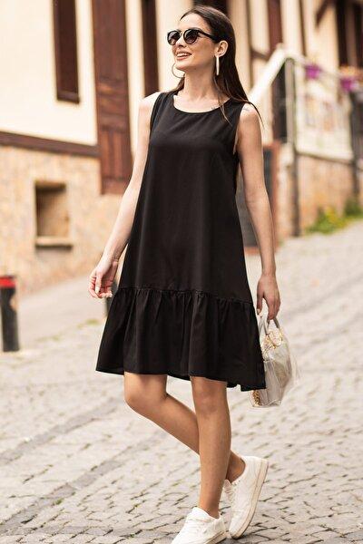 Kadın Siyah Kolsuz Eteği Fırfırlı Elbise ARM-18Y001156