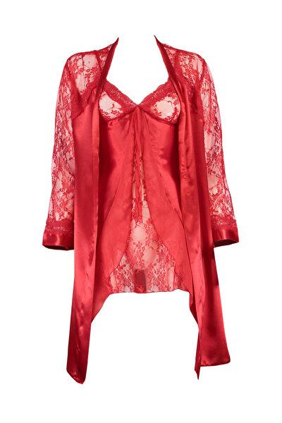 Kadın Kırmızı Sabahlıklı Gecelik Takımı NBB 3927