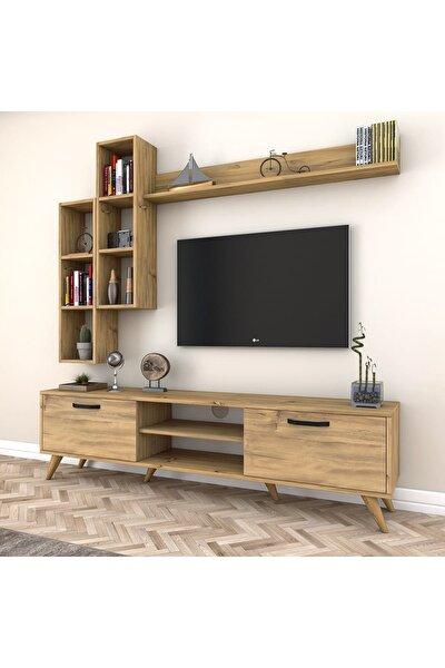 A5 Duvar Raflı Kitaplıklı Tv Ünitesi Duvara Monte Dolaplı Modern Ayaklı Tv Sehpası Ceviz M16