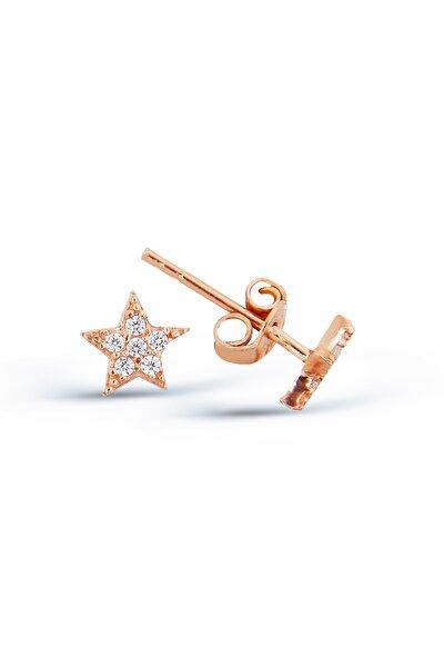 Zirkon Taşlı Gümüş Yıldız Küpe