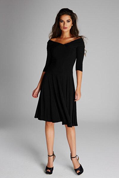 Kadın Siyah Omuz Dekolteli Elbise 13K020-L