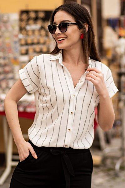 Kadın Füme Keten Çizgili Kısa Kol Gömlek ARM-19Y001067