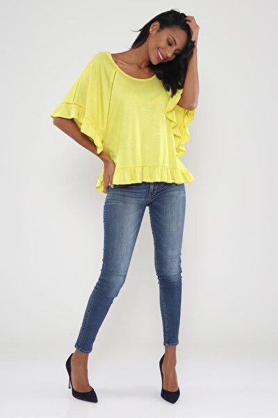 Kadın Sarı Ara Kroşetalı Fırfır Detaylı Bluz Hn466
