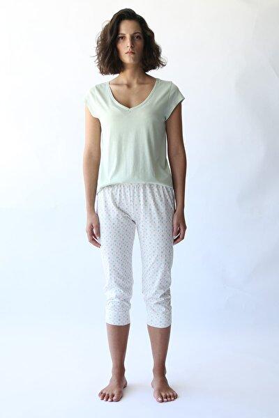 Kadın Yeşil Puantiyeli Manşetli Penye Kapri Pijama Altı