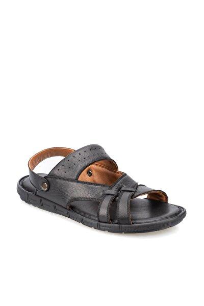 91.157710.m Siyah Erkek Deri Sandalet 100366004