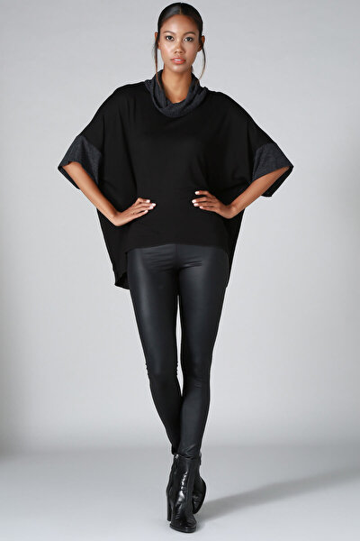 Kadın Siyah Boğazlı Triko Kazak BD2290