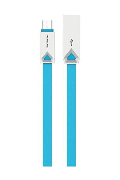 PN-309 Yüksek Hızlı Micro USB 1 Metre Mavi Data Şarj Kablosu