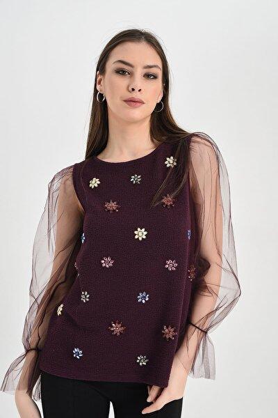 Kadın Bordo Kolu Tül Boncuk Detaylı Bluz Hn1285