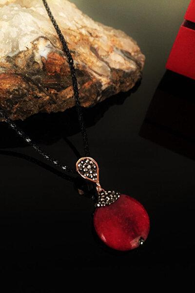 Kadın Doğaltaş Akik Taşı Rose Altın Kaplama Kolye Krb171