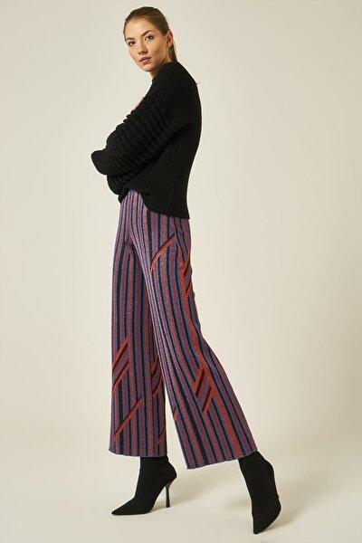 Kadın Lacivert Çizgili Simli Beli Lastikli Pantolon JU8-9W-701