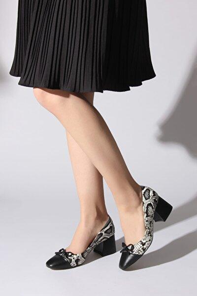 Siyah Beyaz Kadın Klasik Topuklu Ayakkabı 11112014793-01