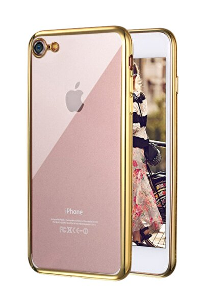 Apple iPhone 8 Kılıf Flexi Delux Gold