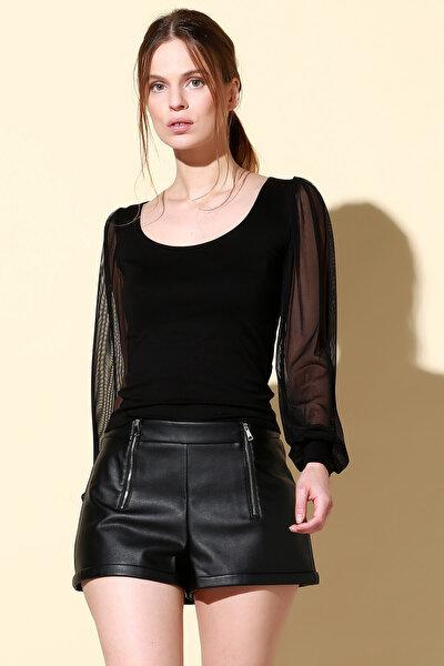 Kadın Siyah Tül Kollu Bluz BD2212
