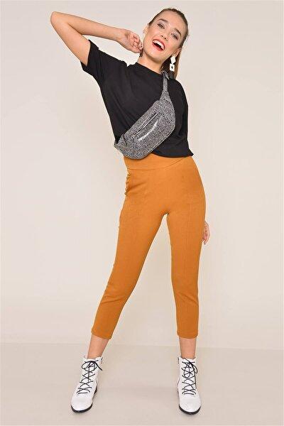 Kadın Hardal Renkli Havuç Paça Pantolon 12590
