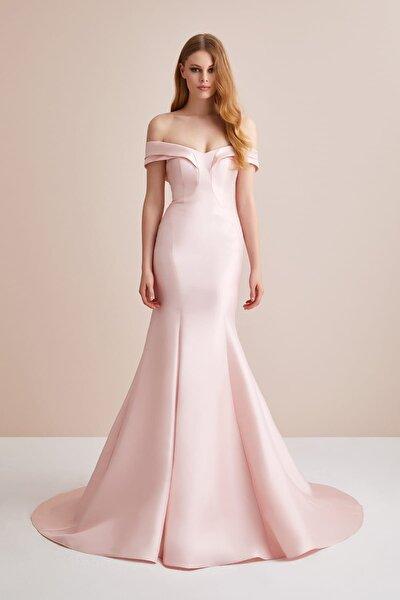 Kadın Toz Pembe Kayık Yaka Saten Uzun Abiye Elbise 4XLVC3649