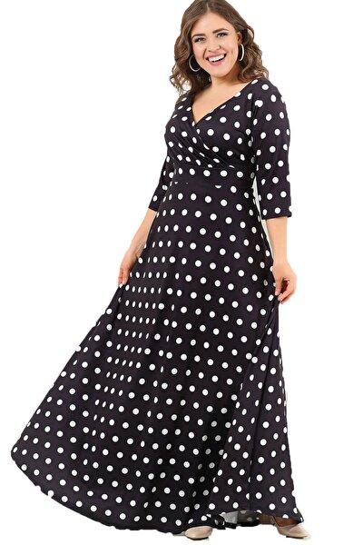 Kadın Siyah Puantiyeli Likralı Abiye Elbise DD2404U