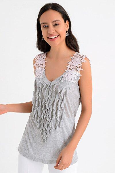 Kadın Gri Kolları Pembe Dantel Detaylı Bluz Hn851