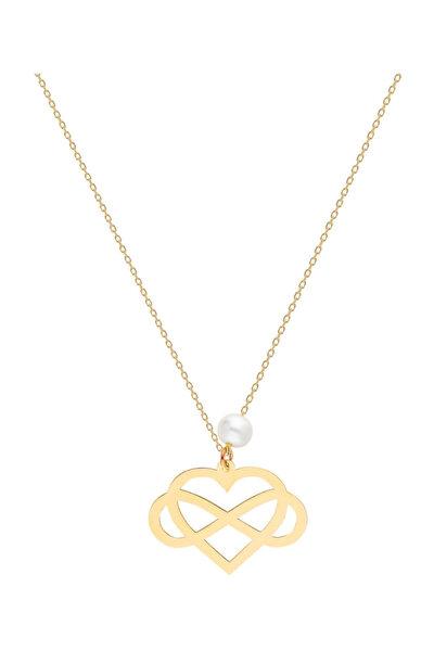 Kadın Altın İnci Kalp-Sonsuzluk Kolye SV0095