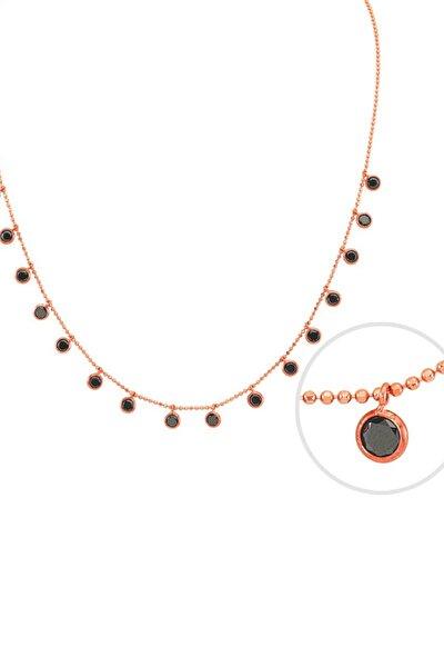 Kadın Siyah Taşlı Tifani Rose 925 Ayar Gümüş Kolye GK00505