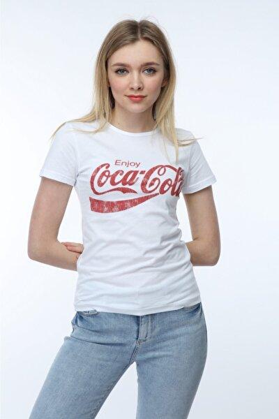 Kadın Beyaz Coca Cola Baskılı T-Shirt