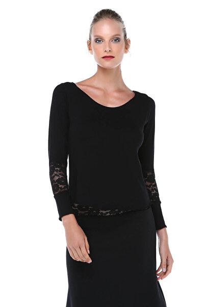 Kadın Siyah Kol Detaylı Triko Bluz BD2394