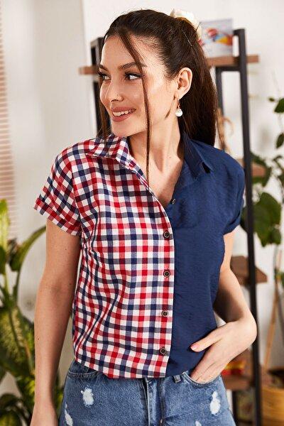Kadın Lacivert Bloklu Kare Desen Kısa Kol Gömlek ARM-21K001199