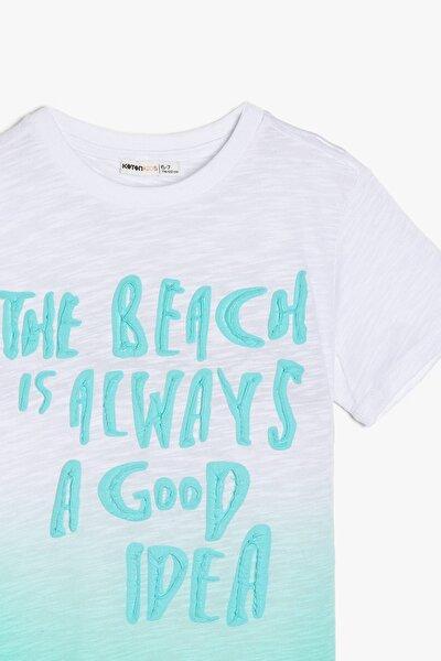 Ekru Erkek Çocuk Yazili Baskili T-Shirt