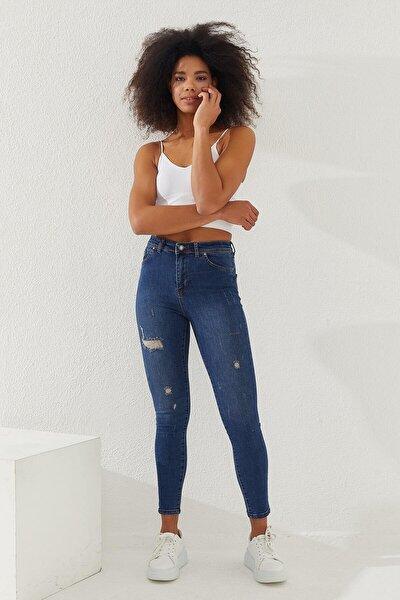 Kadın Yüksek Bel Skinny Jeans Mavi
