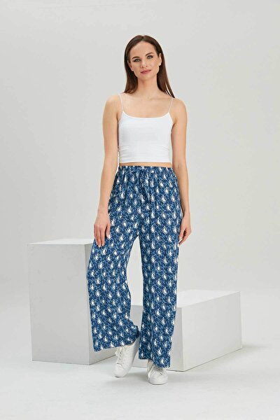 Kadın Buz Mavi Desenli Geniş Paça Dokuma Pantolon P21s169-1233