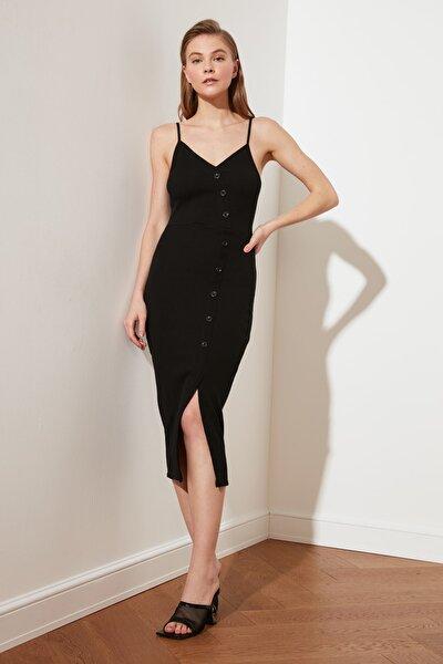 Siyah Düğme Detaylı Fitilli Örme Elbise TWOSS21EL2009