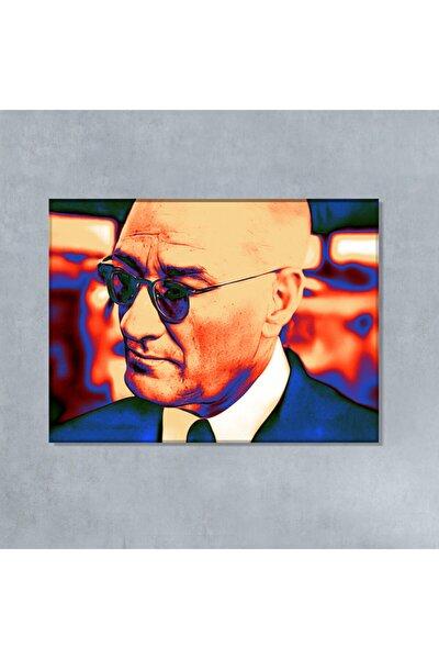 Gazi Mustafa Kemal Atatürk Gözlüklü Turuncu Efektli Kanvas Tablo
