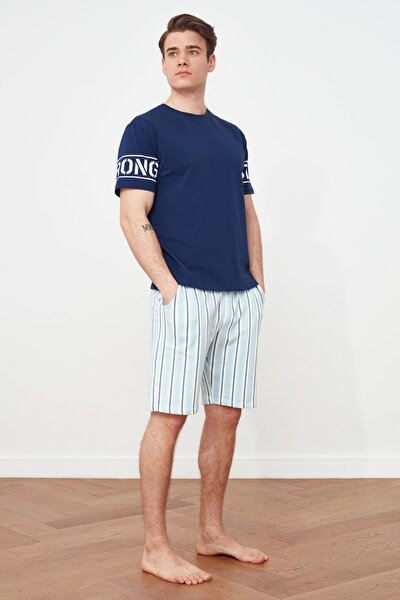 Lacivert Baskılı Örme Pijama Takımı THMSS21PT0447