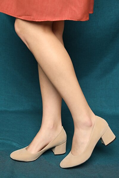 Kadın Ten Süet Topuklu Ayakkabı