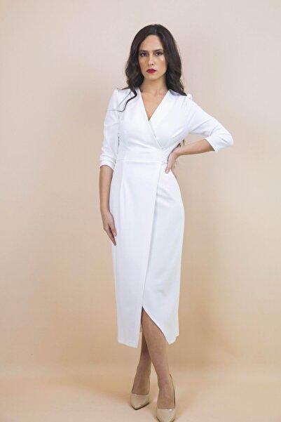 Kadın Beyaz Kruvaze Bağlamalı Elbise