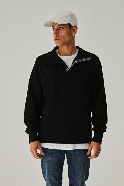 Unisex Siyah Selanik Yarım Yaka Sweatshirt