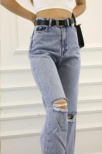 Kadın Mavi Bol Paça Dizi Yırtmaçlı Yırtık Kot Pantolon