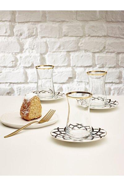 Yıldız 12 Parça Çay Seti Porselen Tabaklı Çay Bardağı
